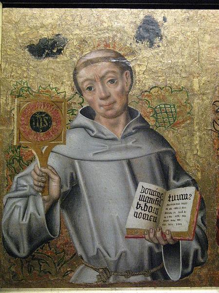 Św. Bernardyn z monogramem IHS_pl.wikipedia.org