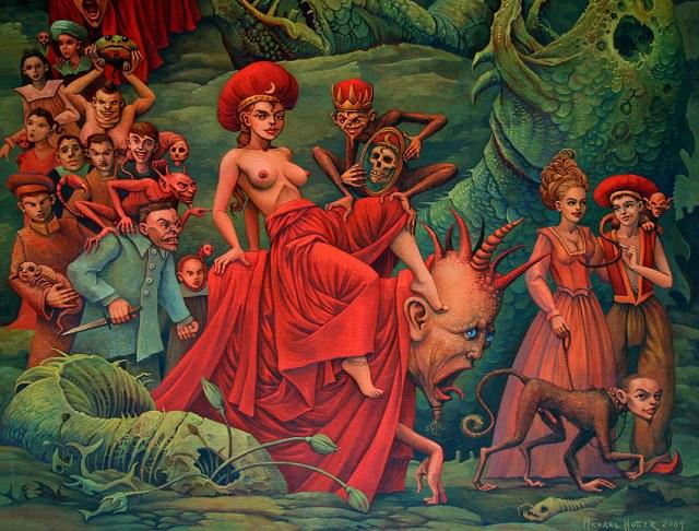 Nierządnica na bestii, Michael Hutter, der Triumph des Fleisches_malarstwo.fineartexpress.pl
