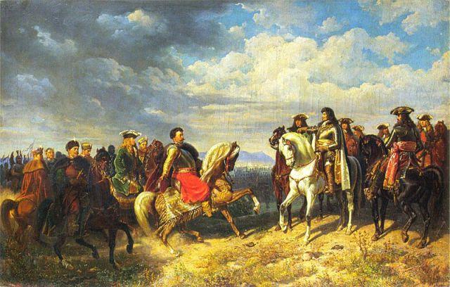 Spotkanie Jana III Sobieskiego z Leopoldem I pod_Schwechat_Artur Grottger