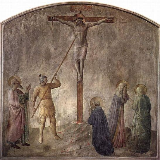Longinus przebijający włócznią bok zmarłego na krzyżu Jezusa Chrystusa_Fra_Angelico_upload.wikimedia.org