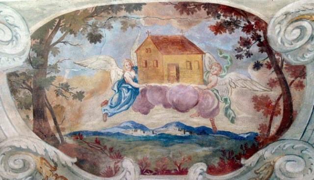 Litania Loretańska - Domek i Aniołowie - ragment fresku w Kaplicy Najświętszej Maryi Panny w Hof_stacja7