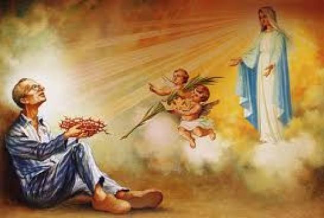św. Maksymilian z Niepokalaną i Aniołami w celi śmierci_gloria.tv