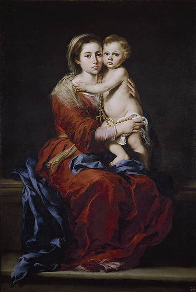 Madonna z różańcem_Bartolomé_Esteban_Perez_Murillo_pl.wikipedia.org