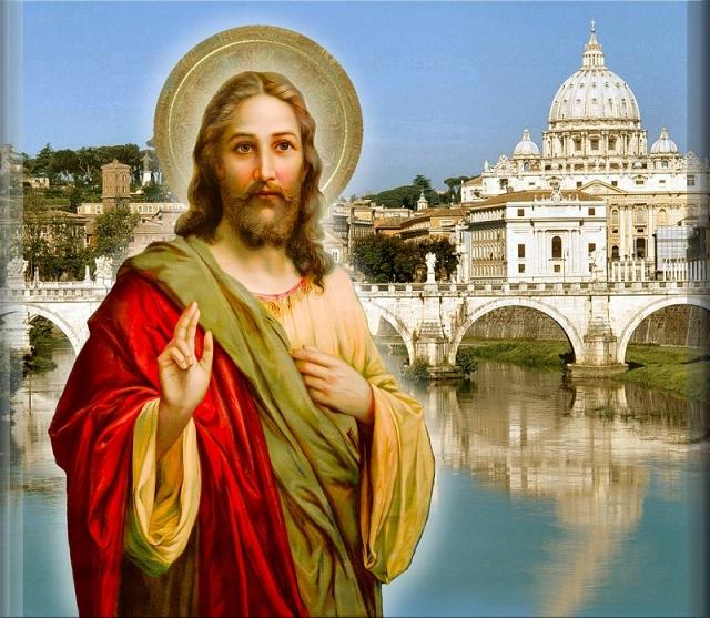 Pan Jezus na tle Bazyliki św. Piotra_catholictradition.org