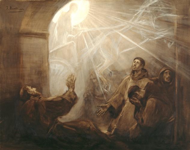 Franciszek z Asyżu nawiedzający swój klasztor w ognistym rydwanie- Josep_Benlliure (1855–1937)_en.wikipedia.org