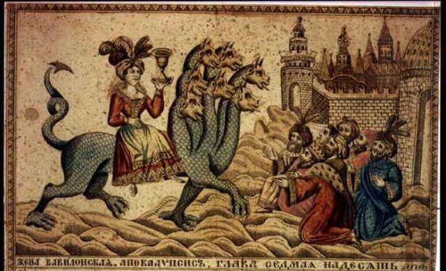 Siedmiogłowa bestia Apokalipsy i nierządnica (XIX-wieczny miedzioryt rosyjski)_pl.wikipedia.org