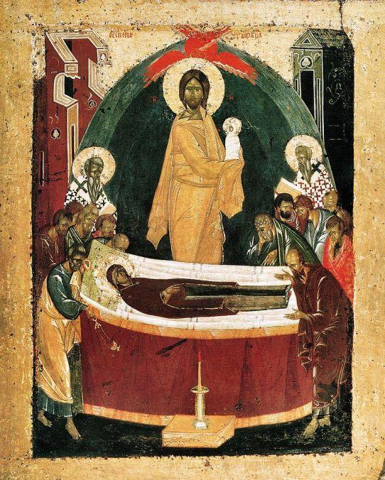 Zaśnięcie Matki Bożej, szkoła nowogrodzka, koniec XIV w.-Theofanus_uspenie