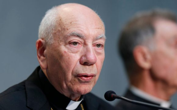 "Cardinal Francesco Coccopalmerio, president of the Pontifical Council for Legislative Texts, speaks at a Vatican press conference in this Sept. 8, 2015, file photo. Cardinal Coccopalmerio has written a book on Pope Francis' apostolic exhortation, ""Amoris Laetitia."" (CNS photo/Paul Haring) See AMORIS-COMMUNION-COCCOPALMERIO Feb. 14, 2017."